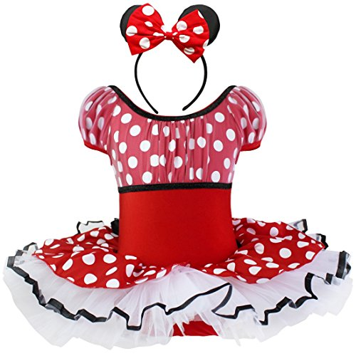 iiniim Mädchen Kinder Festlich Kleid Polka Dots Ballettkleid Party Hochzeit Ballkleid Cosplay Kleid Halloween Karneval Weihnachten Tutukleid +Ohren Rot 128-140/8-10 (Halloween Ballkleid)