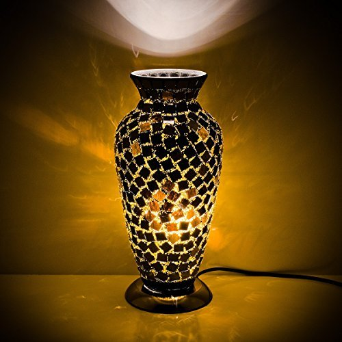 BLACK TILE MOSAIC GLASS VASE LAMP