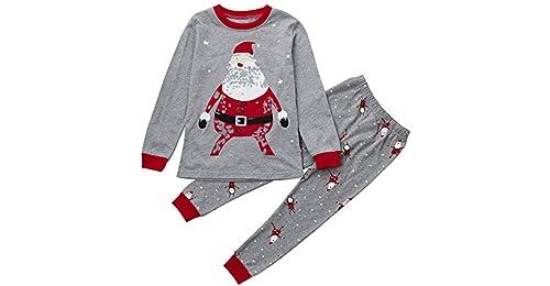 edb90fdab4 FRAUIT Pigiama Natale Famiglia Stampa di Babbo Natale Tops + Pantaloni per  Bambino Bambini