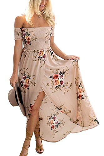 GREMMI Sommerkleid Damen Schulterfreies Maxikleid Abendkleid Strandkleid Party Elegant Blumendruck Kleider Chiffon Kleid