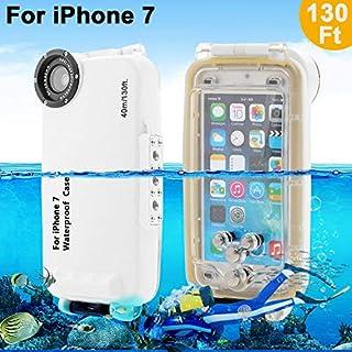 Unterwasser Fall Underwater case For iPhone 7 AIGUMI 40M Diving Case Tauchen Wasserdichte Telefon Tasche IPX8 wasserdichtes Gehäuse mit 32mm Gewinde (Weiß, IP7)