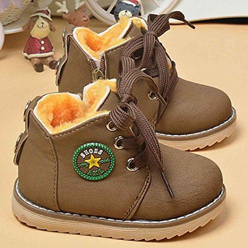 Hunpta Mode Winter niedlichen jungen Mädchen Kind Armee Stil Martin Stiefel warme Schuhe (Alter: 24-28M, Gelb) Khaki