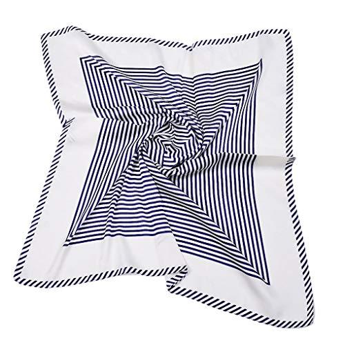 Beaums 70cmx70cm muchachas de las mujeres de seda de imitación de la bufanda de seda a rayas Señora Mini Fular Mujer corbata