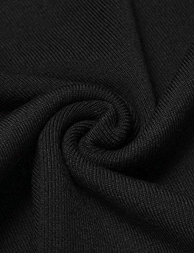 Finejo Damen Bluse und Tuniken Holllow Out Sweatshirt Pullover Oberteile Slim Fit Tops Schwarz