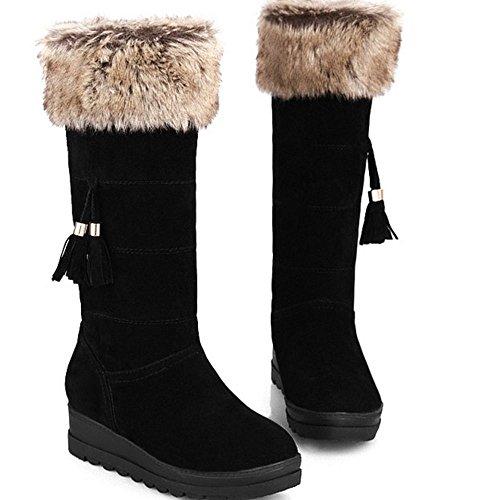 TAOFFEN Damen Winter Warm Flache Langschaft Schnee Stiefel Mit Synthetik Fell Schwarz