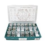 Sortiment M5 + M6 DIN 933 Edelstahl A4 (V4A) Sechskantschrauben mit Gewinde bis Kopf - Set bestehend aus Schrauben, Unterlegscheiben (DIN 125, 127, 9021) und Muttern (DIN 934, 985) - 670 Teile