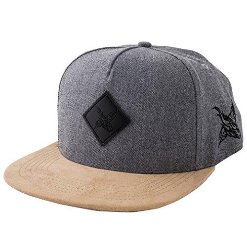 Blackskies Port Venice Snapback Cap Grau Wildleder Schirm Flanell Unisex Premium Baseball Mütze Kappe Wolle