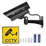 TIMESETL Attrappe Kamera CCTV Dummy Überwachungskamera mit Rot Blinkender LED Fake Sicherheitskamera - Schwarz