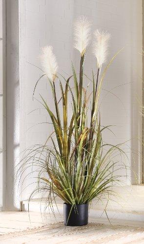 Pianta decorativa artificiale con canne ed erba, in vaso, 120cm