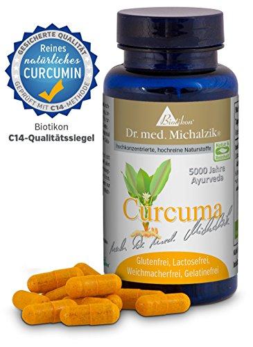 Curcuma nach Dr. med. Michalzik + 418 mg reines Curcumin aus 440 mg Curcuma longa Extrakt (95%) Vitamin C 10 mg je Kapsel + ohne Zusatzstoffe + 90 vegane Kapseln + NICHT SYNTHETISCH - REIN NATÜRLICH nachgewiesen mit sicherer Isotopen-Analyse - 90 vegane Kapseln
