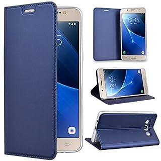 SMART LEGEND Lederhülle für Samsung Galaxy J5 2016 Handyhülle Schutzhülle Ledertasche Hülle Blau Leder Flip Case Handy Schale mit Kartenfächer Magnet Standfunktion Etui
