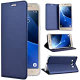 SmartLegend Coque pour Samsung J5 2016 , Samsung SM - J510 Etui,élégance Folio Housse en Cuir Pour Samsung Galaxy J5 2016 PU Vintage Relief Fonction Support TPU Cover Flip Case Protection Anti Shock - Bleu - Samsung Galaxy J5 2016