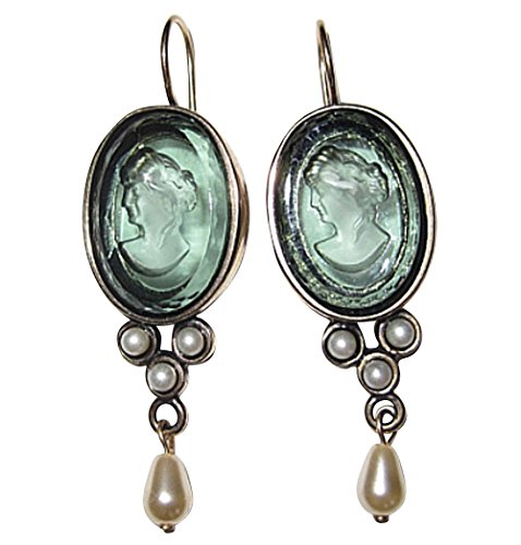 Stilvolle große Gemmen-Ohrringe Ohrhänger turmalin-grüne Glas-Gemme hängende Süßwasserperle...