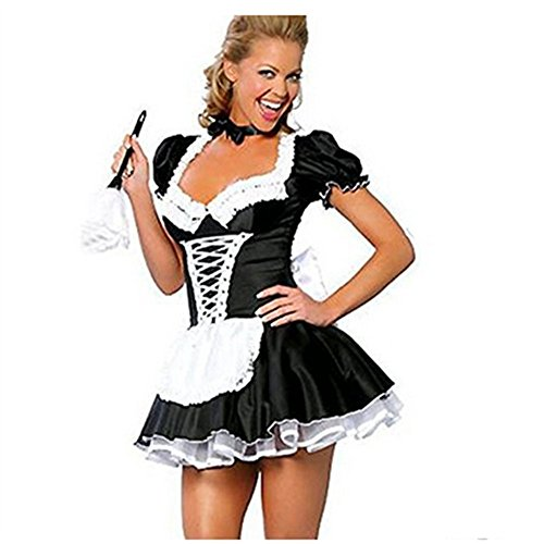 discoball Damen Dienstmädchen Kostüm Kleid Frauen French Maid Anime Cosplay Zimmermädchen Karneval Fasching Schürze mit Weißes Band Schwarze Fliege G-String (XL) (Dienstmädchen Kleid Kostüm)