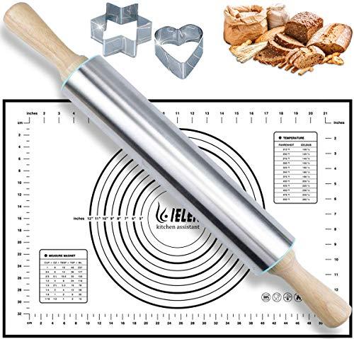 Rouleau à pâtisserie en acier inoxydable et silicone - Ensemble de tapis de pâtisserie : ensemble de rouleaux à pâtisserie antiadhésifs pour la cuisson de tarte, croûte, pâtes, pâtisserie, pizza