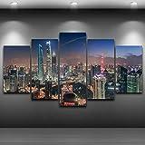 INFANDW 5 Panel Druck auf leinwand Tower City Gebäude Pop Art Gemälde Kunstdrucke Wandbilder Bilder zur Dekoration - Schlafzimmer Wohnzimmer Flur Kinderzimmer Deko 150 x 80 cm (Rahmenlos)