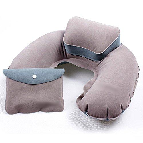 Tragbar Folding Travel Air Kissen aufblasbar U Form Hals Blow Up Kissen grau PVC (Blow Up Betten Für Das Auto)