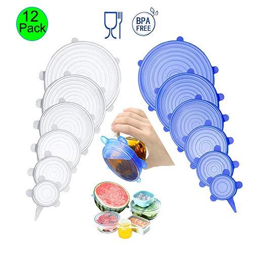 Silikondeckel, Dehnbare Silikondeckel, Silikon Stretch Abdeckung in Verschiedenen Größen Wiederverwendbar Dauerhaft Erweiterbar,für Schüsseln,Becher,Dosen,andere Früchte und Gemüse(12 Stück) -