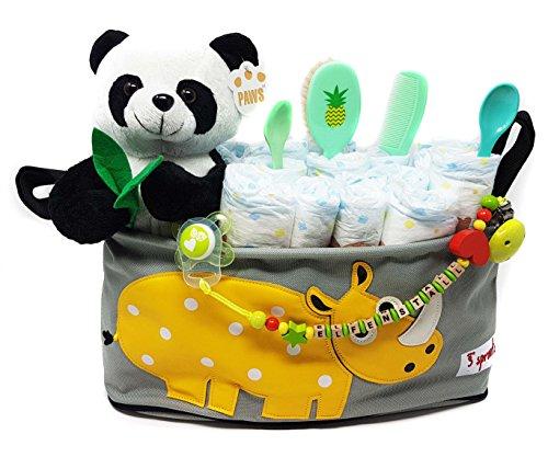 Elfenstall Windeltorte//Pamperstorte mit Spielzeug und Schnullertkette als tolles Geschenk//Geschenkset zur Geburt oder Taufe auf Wunsch mit Name des Babys Neutral