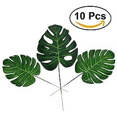 Idea Regalo - WINOMO Foglie di palma artificiali per la decorazione Foglia finte verde (10pcs)