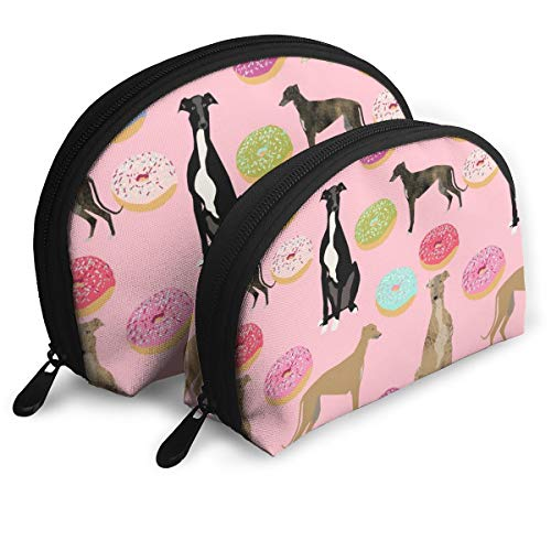 Pink Greyhound Donuts Cute Dog Design Rescue Dogs D Cosmetic Pouch Clutch Portable Bags Handbag Organizer with Zipper 2Pcs -