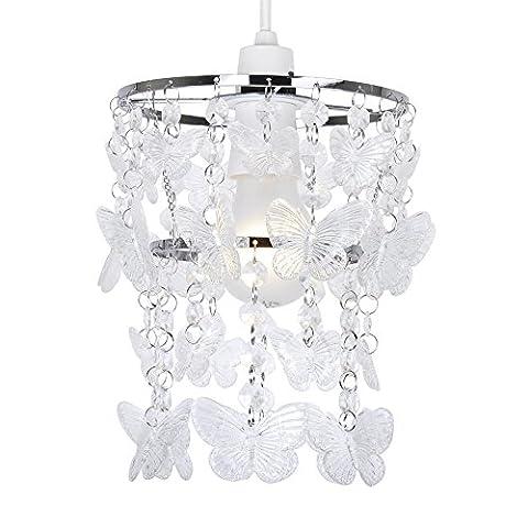 Moderner Lampenschirm aus transparentem Acryl mit Schmetterlingenmotiv (Kronleuchter Mit Lampenschirm)