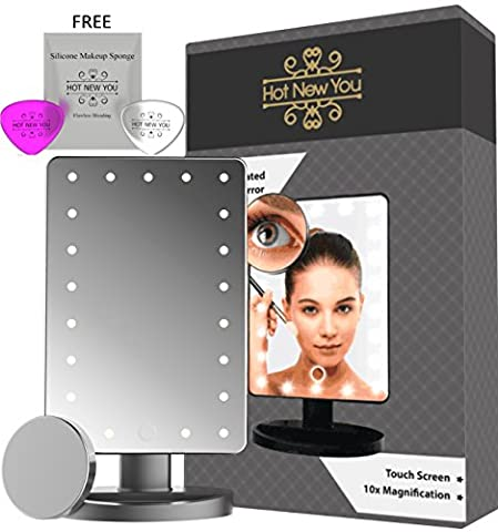 Professional LED Make Up Mirror with Lights and Magnifier 10x (removable) Touch Sensor Illuminated High Definition Portable Cosmetic Makeup Mirror - Luxury Designer Makeup Mirror The Perfect Gift For Women - ***Free Silicone Makeup Sponge worth £5*** (Silver)