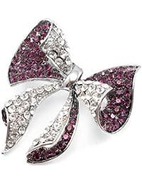 A Pair Glamorousky Elegant Barrette with Silver Austrian Element Crystal 309