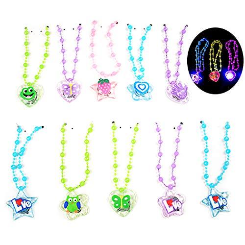 Joyibay 10 STÜCKE Kinder Weihnachten LED Halskette Leuchten Halskette Partei Halskette (Gelegentliche Farbe) (Blinkende Weihnachten Halsketten)
