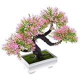 Kompassswc Mehrfarbig Künstlicher Bonsai Pinien Schreibtisch Dekobaum Kunstbaum Zeder im Töpfchen 19cm Höhe (Pink)