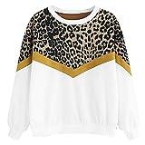 TRFLH& Leopard Panel Drop Shoulder Sweatshirt Long Sleeve O-Neck Pullover Tops Autumn Women Casual Sweatshirts f1 White XL