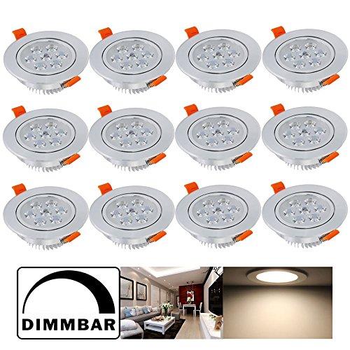 Hengda® 12 pcs 7W LED Einbauleuchte Innenbeleuchtung, Dimmbar, Rund Einbauleuchten Deckenleuchten für das Bad geeignet, Wohnzimmer 230v Warmweiß Einbauspot | Einbau Strahler | Einbaulampen