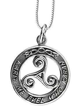 Anhänger keltische Triskele Dreierwirbel 925er Silber Schmuck – Schutzamulett – mit Kette Halskette Silberkette...