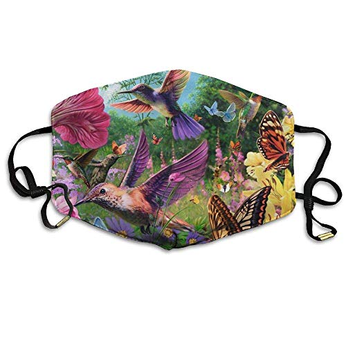 Daawqee Staubschutzmasken, Unisex Hummingbird Butterfly Flowers Garden Anti-dust Breathable Health Masks Mouth Face Masks -