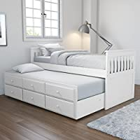 Oxford Captains Guest Bed With Storage in Pure White