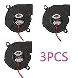 3pcs Brushless DC 12V 0.1A 5015 Kühlung Gebläse Auspuff Turbo Lüfter 50x15mm 2-polig für 3D Drucker Computer