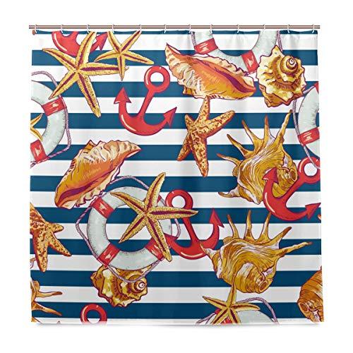 vinlin Anker Seestern Seashell Wasserdicht Badezimmer Zubehör Vorhang für die Dusche Badewanne Vorhang 182,9x 182,9cm