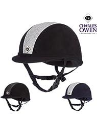 Charles Owen YR8brillante negro/plateado brillante para caballo sombreros
