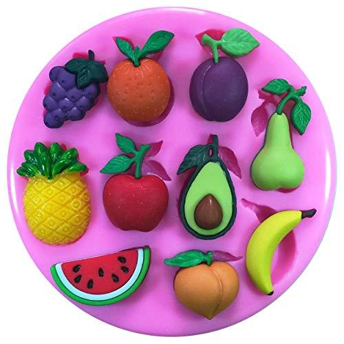 Fruits frais d'Avocat d'ananas Pastèque en forme de poire Banane Pêche Prune Orange raisins Moule Moule en silicone pour décoration de gâteaux gâteaux en pâte à sucre Fairie Blessings