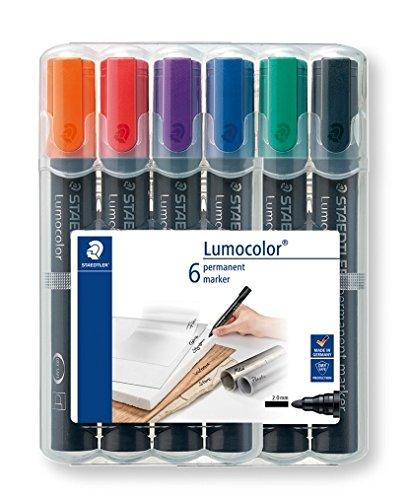 Staedtler 352 WP6 Permanentmarker Lumocolor, nachfüllbar, Rundspitze, Box mit 6 Farben