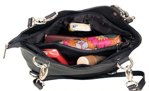 Multifunktions-Tasche mit vielen Tragevariationen (Schwarz/Camel) Lila/Schwarz (Rindleder)