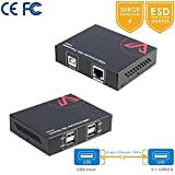 USB Extender KVM over single cable CAT5e / 6, 4 ports USB2.0 50M Active Repeater, For Keyboard / Mouse / Gamepad etc, Two webcams synchronously, No Latency, Windows, MacOS, Linux