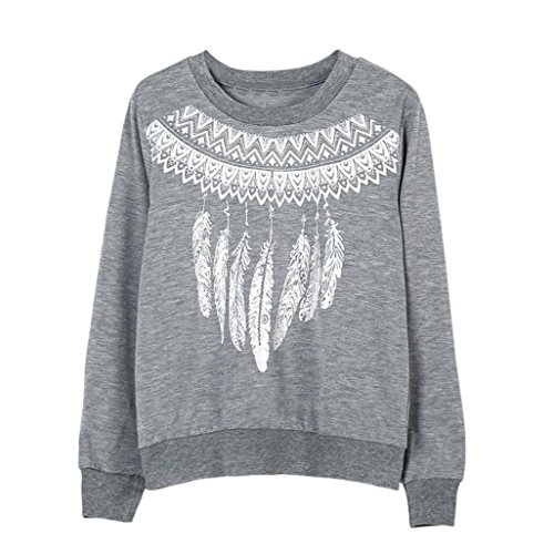 Ouneed®Femm Plume Imprime Sweat- Shirt sans capuche Taille 42-48 Gris