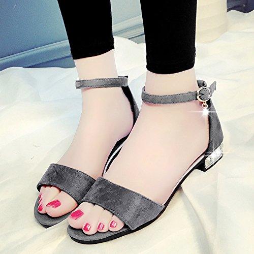 XY&GKSommer Toed's Sandalen Frauen Sommer Studenten All-Match Flachbild Wort Schnalle Mode Frauen Sandalen, komfortabel und schön 40 grey