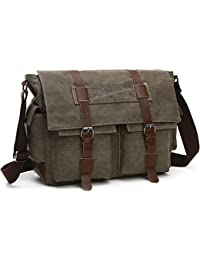 LOSMILE Shoulder Bag, Men's Messenger Bags, 16 Inches Vintage Military Canvas Laptop Bag for Work and School, Multiple Pocket.