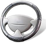 Cartrend 60299 Premium Lenkradhülle mit Noppen, Schwarz Carbon/Silber Look