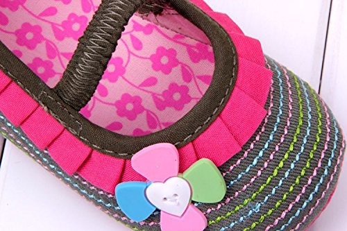 Smile YKK Mode Liebe Mädchen Ballet-Stil Krabbelschuhe Lauflernschuhe Lace Klettverschluss Pink Pink