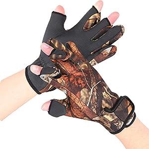 Tbest Angeln Handschuhe warm für Männer Frauen,Winter Outdoor Winddicht wasserdicht Vollfingerhandschuh verdickt warme Handschuhe für Eisfischen Fliegenfischen Motorradfahren Laufen Radfahren