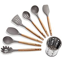 7 Piece Silicone Cooking Utensil Set with Natural Acacia Hard Wood Handle and Stainless Steel Utensil Holder