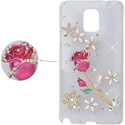Spritech (TM) rosa de cristal elegante flor Decor caso Bling 3d diseño de diamantes de imitación claro duro funda